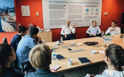 Tinerii din cadrul proiectului YEEI – Antreprenoriat la puterea tinerilor – workshop și consiliere în carieră în cadrul Citi Bank România