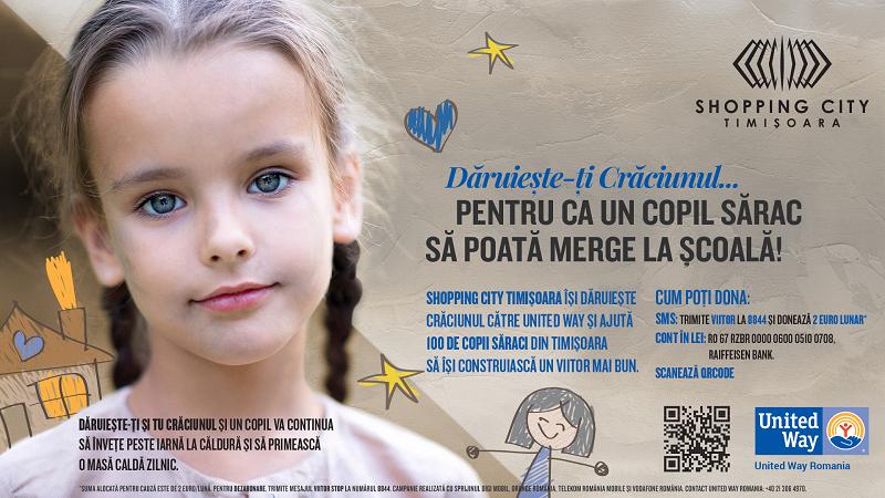 Shopping City Timișoara își dăruiește Crăciunul pentru ca 100 de copii să nu abandoneze școala